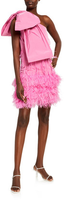 No.21 One-Shoulder Bow Mini Dress with Feathers