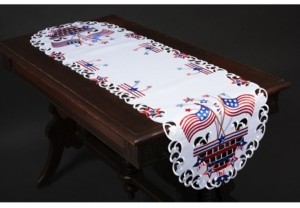 """Xia Home Fashions Star Spangled Embroidered Cutwork Table Runner, 15 By70"""""""