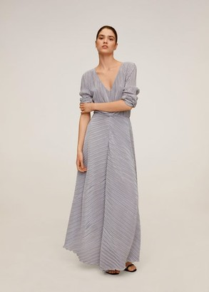 MANGO Pleated long dress purple - 4 - Women
