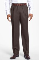 Santorelli 'Luxury Serge' Double Pleated Wool Trousers