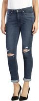 Paige Hoxton High Rise Crop Roll Up Jean With Destruct