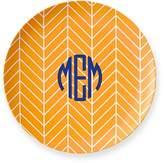 Monogrammed Melamine Plate, Set of 4, Herringbone