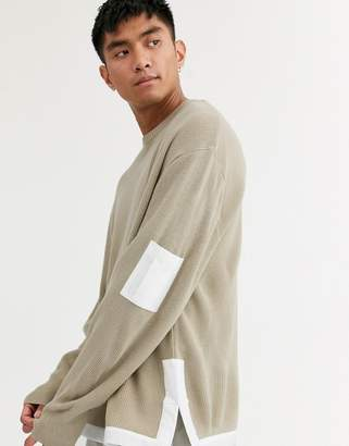 Asos Design DESIGN knitted ribbed sweater with woven panels in oatmeal-Beige