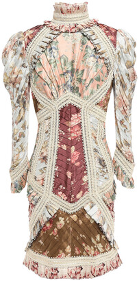 Zimmermann Pleated Appliqued Floral-print Silk Mini Dress