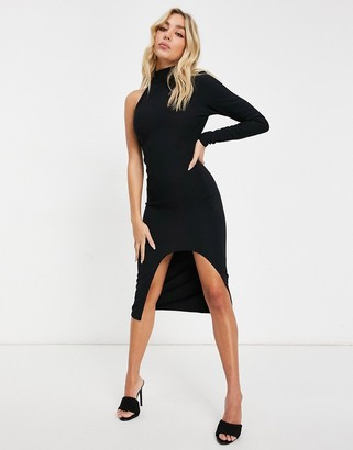 I SAW IT FIRST cut out one sleeve midi dress in black