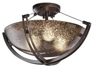 "Wrought Studioâ""¢ Naarden Simple Bowl Semi Flush Mount Wrought Studioa Fixture Finish: Dark Bronze, Shade Color/Pattern: Mercury, Size: 12"" H x 22"" W x 22"" D"