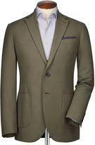 Classic Fit Khaki Herringbone Cotton Jacket Size 36 By Charles Tyrwhitt