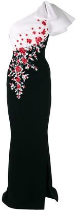 Saiid Kobeisy One-Shoulder Floral Maxi Dress