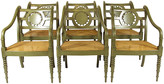 One Kings Lane Vintage French Style Armchairs by Baker - Set of 6 - The Barn at 17 Antiques - green gray