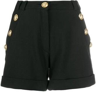 Balmain High-Waisted Logo-Button Shorts