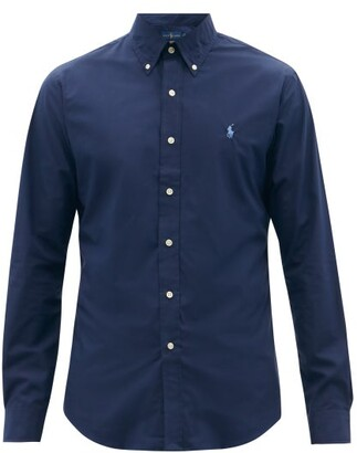 Polo Ralph Lauren Slim Fit Cotton Poplin Shirt - Mens - Navy
