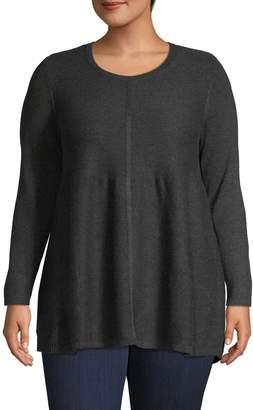 Style&Co. Style & Co. Plus Long-Sleeve Mix Stitch T-Shirt
