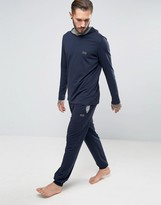 Boss Black By Hugo Boss Cuffed Joggers In Regular Fit Navy