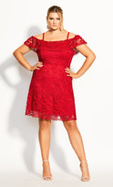 City Chic Dream Of Lace Dress - scarlet