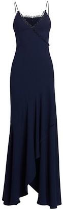 ML Monique Lhuillier Long Front Ruffle & Trim Wrap Gown