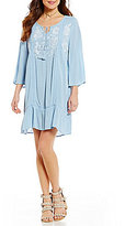Blu Pepper Embroidered Tassel-Tie Shift Dress