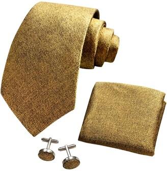 CANGRON Men Red Plaid Tie Set Necktie with Pocket Square Cufflinks Giftbox ELSG8DH