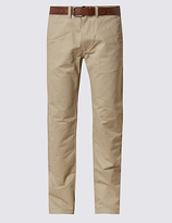 M&S Collection Straight Fit Chinos with Belt