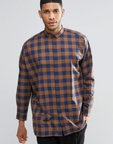 Asos Oversized Shirt In Brown Check With Dropped Shoulder