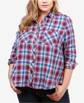 Lucky Brand Trendy Plus Size Cotton Plaid Utility Shirt