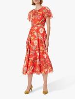 Hobbs Sarah Floral Print Midi Dress, Flame Red