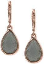 Nine West Rose Gold-Tone Gray Stone Drop Earrings