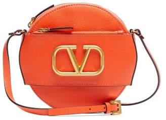 Valentino V-logo Circular Leather Cross-body Bag - Womens - Orange