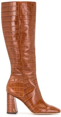 Sam Edelman Crocodile-Embossed Leather Boots