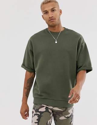 Asos Design DESIGN oversized sweatshirt with raw sleeve in khaki-Green