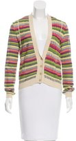 M Missoni Patterned Rib Knit-Trimmed Cardigan