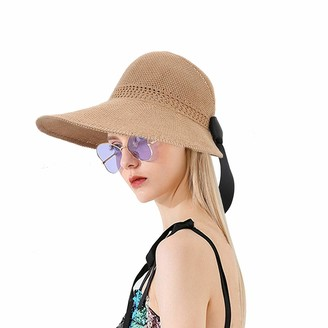 Magibag Straw Sun Hat UPF 50+ Roll Up Visor Women Beach Cap Foldable Wide Brim Hat Bow (Brown)