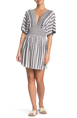 Trina Turk Embroidered Stripe Slit Sleeve Cover-Up Tunic