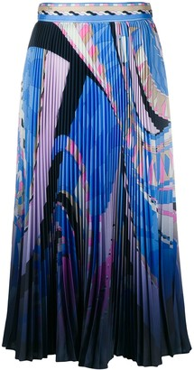 Emilio Pucci Abstract-Print Pleated Skirt