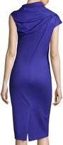 Oscar de la Renta Cap-Sleeve Asymmetric Stretch-Knit Dress, Mulberry