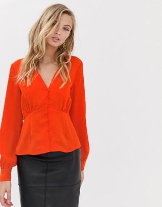 Vila button through tea blouse-Red