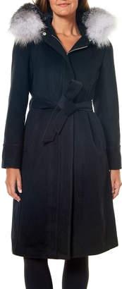 One Madison Fox Fur-Ruff Hooded Belt Coat