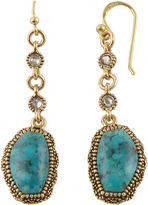 Barse BIJOUX BAR Art Smith by Genuine Turquoise Brass Linear Drop Earrings