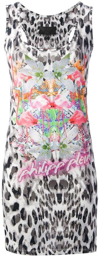Philipp Plein flamingo leopard print dress