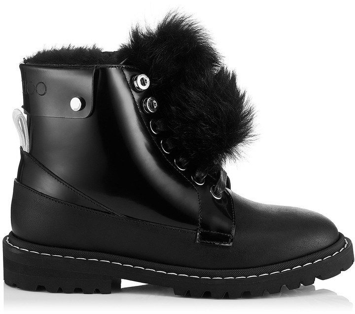 Jimmy Choo The Voyager: SNOW/F Black Shiny Calf Leather Snow Boots with Heated Soles