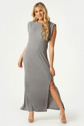 Little Mistress Vivi Grey Padded Shoulder Midi Dress