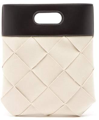 Bottega Veneta Slip Small Intrecciato Linen Tote - Womens - Cream Multi