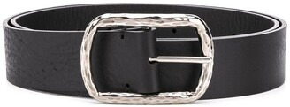 P.A.R.O.S.H. Textured-Buckle Calf Leather Belt