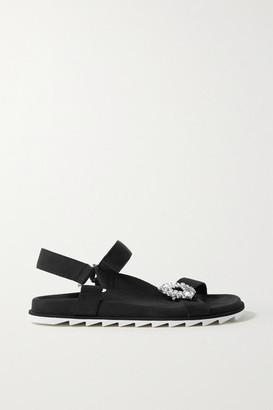Roger Vivier Slidy Espa Crystal-embellished Grosgrain And Suede Sandals - Black