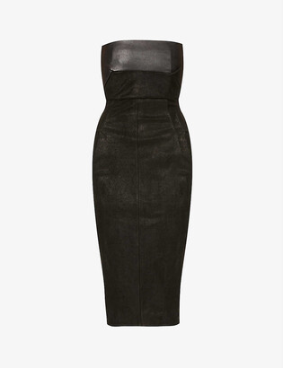 Rick Owens Bustier leather-blend midi dress