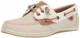 Sperry Songfish Chambray Stripe Boat Shoe Women 5.5 Ivory