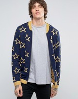 Asos Knitted Bomber With All Over Metallic Stars