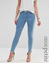 Asos Lisbon Skinny Mid Rise Jeans In Honey Light Wash With Stepped Raw Hem