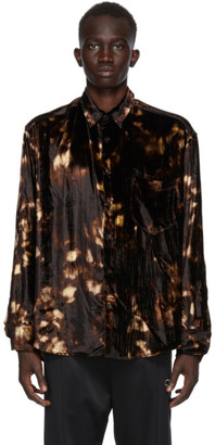 Cmmn Swdn Brown and Beige Velvet Cedric Shirt