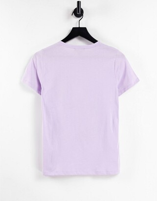 New Look embroidered abstract face t-shirt in lilac