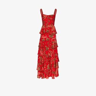 Johanna Ortiz Life Goals floral tiered cotton maxi dress